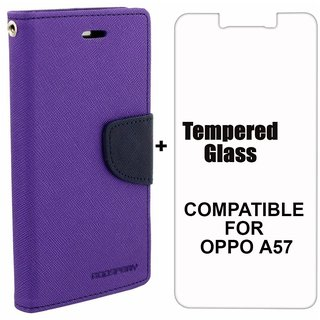 BRAND FUSON Mercury Diary Wallet Flip Case Cover for OPPO A57 Purple Premium Quality + Tempered Glass