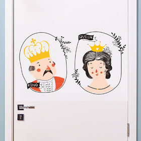 Home Berry Door Design King and Queen Bathroom Door Decoration(Multicolour, PVC Vinyl, 60 cm X 27 cm)
