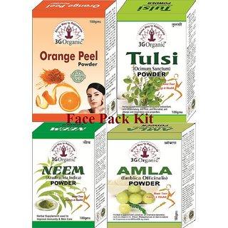 Face Pack Kit 400 Gms Orange Tulsi Neem Amla 100 Herbal  Natural From 3G Organic