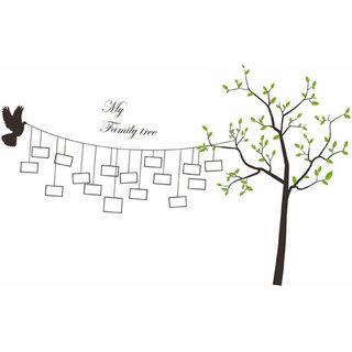 Home Berry Family Tree Branches with Vinyl Photo Frames & Quote(Multicolour, PVC Vinyl, 129 cm X 208 cm)
