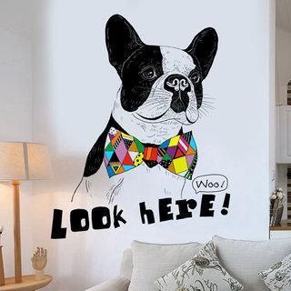 Home Berry Door Decals Kids Room Animals Funny Dog Look Here(Multicolour, PVC Vinyl, 81 cm X 101 cm)