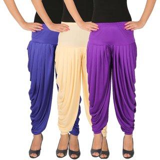 Dhoti Pants Women - Culture the Dignity Women's Lycra Side Plated Dhoti Patiala Salwar Harem Pants Combo - C_SP_DH_B1CV - Blue - Cream - Violet - Pack of 3