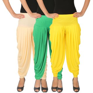 Dhoti Pants Women - Culture the Dignity Women's Lycra Side Plated Dhoti Patiala Salwar Harem Pants Combo - C_SP_DH_CGY - Cream - Green - Yellow - Pack of 3