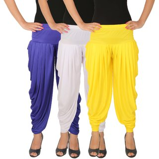 Dhoti Pants Women - Culture the Dignity Women's Lycra Side Plated Dhoti Patiala Salwar Harem Pants Combo - C_SP_DH_B1WY - Blue - White - Yellow - Pack of 3