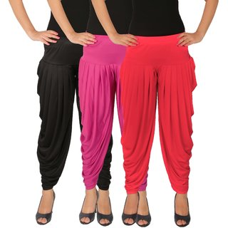 Dhoti Pants Women - Culture the Dignity Women's Lycra Side Plated Dhoti Patiala Salwar Harem Pants Combo - C_SP_DH_BM1P - Black - Magenta - Pink - Pack of 3