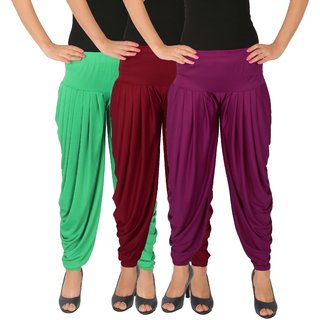 Dhoti Pants Women - Culture the Dignity Women's Lycra Side Plated Dhoti Patiala Salwar Harem Pants Combo - C_SP_DH_GMP1 - Green - Maroon - Purple - Pack of 3