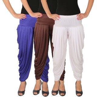 Dhoti Pants Women - Culture the Dignity Women's Lycra Side Plated Dhoti Patiala Salwar Harem Pants Combo - C_SP_DH_B1B2W - Blue - Brown - White - Pack of 3