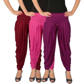 Dhoti Pants Women - Culture the Dignity Women's Lycra Side Plated Dhoti Patiala Salwar Harem Pants Combo - C_SP_DH_MM1P1 - Maroon - Magenta - Purple - Pack of 3