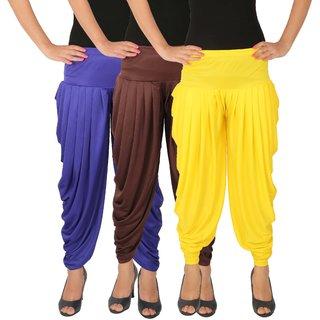 Dhoti Pants Women - Culture the Dignity Women's Lycra Side Plated Dhoti Patiala Salwar Harem Pants Combo - C_SP_DH_B1B2Y - Blue - Brown - Yellow - Pack of 3