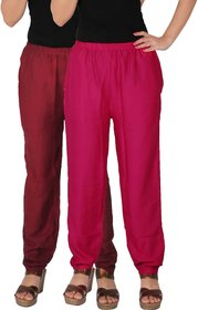 Culture the Dignity Women's Rayon Solid Casual Pants Office Trousers With Side Pockets Combo of 2 -  Maroon -  Magenta -  C_RPT_MM1 -  Pack of 2 -  Free Size
