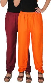 Culture the Dignity Women's Rayon Solid Casual Pants Office Trousers With Side Pockets Combo of 2 -  Maroon -  Orange -  C_RPT_MO -  Pack of 2 -  Free Size