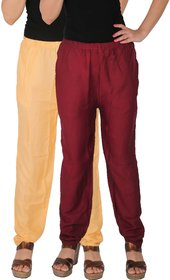 Culture the Dignity Women's Rayon Solid Casual Pants Office Trousers With Side Pockets Combo of 2 -  Cream -  Maroon -  C_RPT_CM -  Pack of 2 -  Free Size