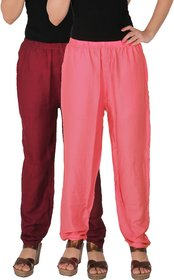Culture the Dignity Women's Rayon Solid Casual Pants Office Trousers With Side Pockets Combo of 2 -  Maroon -  Baby Pink -  C_RPT_MP2 -  Pack of 2 -  Free Size