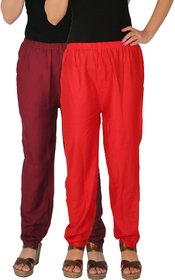 Culture the Dignity Women's Rayon Solid Casual Pants Office Trousers With Side Pockets Combo of 2 -  Maroon -  Red -  C_RPT_MR -  Pack of 2 -  Free Size