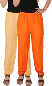 Culture the Dignity Women's Rayon Solid Casual Pants Office Trousers With Side Pockets Combo of 2 -  Cream -  Orange -  C_RPT_CO -  Pack of 2 -  Free Size