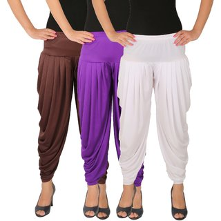 Dhoti Pants Women - Culture the Dignity Women's Lycra Side Plated Dhoti Patiala Salwar Harem Pants Combo - C_SP_DH_B2VW - Brown - Violet - White - Pack of 3