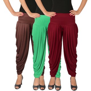 Dhoti Pants Women - Culture the Dignity Women's Lycra Side Plated Dhoti Patiala Salwar Harem Pants Combo - C_SP_DH_B2GM - Brown - Green - Maroon - Pack of 3