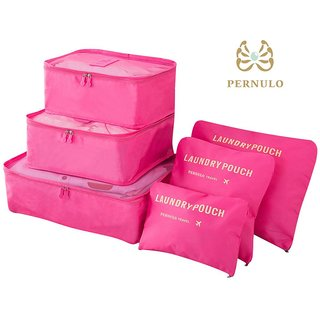 Wondersmit 6 in 1 Travel Laundry Pouch Cosmetics Makeup Bags Organizer Clothe Storage Bag Pink