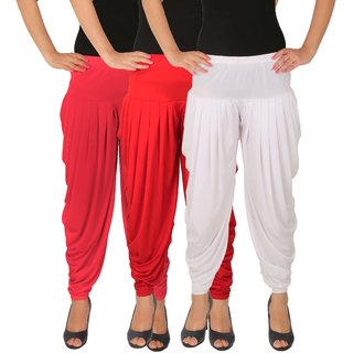 Dhoti Pants Women - Culture the Dignity Women's Lycra Side Plated Dhoti Patiala Salwar Harem Pants Combo - C_SP_DH_PRW - Pink - Red - White - Pack of 3