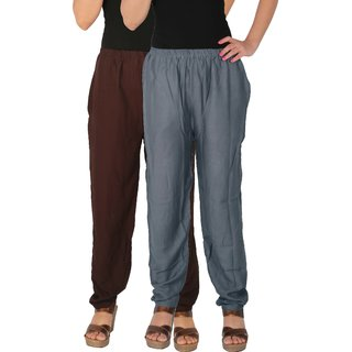 Culture the Dignity Women's Rayon Solid Casual Pants Office Trousers With Side Pockets Combo of 2 -  Brown -  Grey -  C_RPT_B2G1 -  Pack of 2 -  Free Size