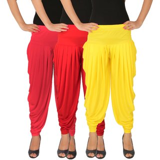 Dhoti Pants Women - Culture the Dignity Women's Lycra Side Plated Dhoti Patiala Salwar Harem Pants Combo - C_SP_DH_PRY - Pink - Red - Yellow - Pack of 3
