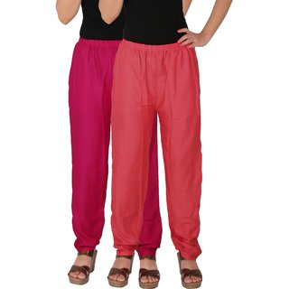 Culture the Dignity Women's Rayon Solid Casual Pants Office Trousers With Side Pockets Combo of 2 -  Magenta -  Pink -  C_RPT_M1P -  Pack of 2 -  Free Size