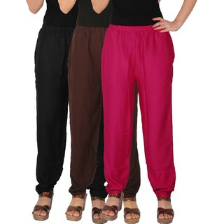 Culture the Dignity Women's Rayon Solid Casual Pants Office Trousers With Side Pockets Combo of 3 - Black - Brown - Magenta - C_RPT_BB2M1 - Pack of 3 - Free Size