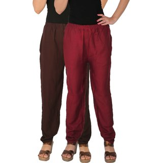 Culture the Dignity Women's Rayon Solid Casual Pants Office Trousers With Side Pockets Combo of 2 -  Brown -  Maroon -  C_RPT_B2M -  Pack of 2 -  Free Size