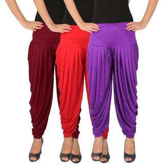 Dhoti Pants Women - Culture the Dignity Women's Lycra Side Plated Dhoti Patiala Salwar Harem Pants Combo - C_SP_DH_MRV - Maroon - Red - Violet - Pack of 3