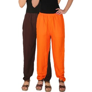 Culture the Dignity Women's Rayon Solid Casual Pants Office Trousers With Side Pockets Combo of 2 -  Brown -  Orange -  C_RPT_B2O -  Pack of 2 -  Free Size