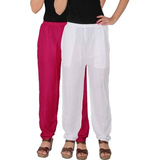 Culture the Dignity Women's Rayon Solid Casual Pants Office Trousers With Side Pockets Combo of 2 -  Magenta -  White -  C_RPT_M1W -  Pack of 2 -  Free Size