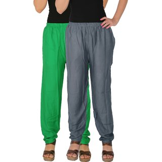 Culture the Dignity Women's Rayon Solid Casual Pants Office Trousers With Side Pockets Combo of 2 -  Green -  Grey -  C_RPT_GG1 -  Pack of 2 -  Free Size