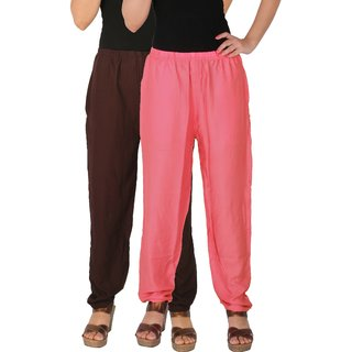 Culture the Dignity Women's Rayon Solid Casual Pants Office Trousers With Side Pockets Combo of 2 -  Brown -  Baby Pink -  C_RPT_B2P2 -  Pack of 2 -  Free Size