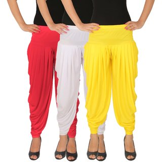 Dhoti Pants Women - Culture the Dignity Women's Lycra Side Plated Dhoti Patiala Salwar Harem Pants Combo - C_SP_DH_PWY - Pink - White - Yellow - Pack of 3