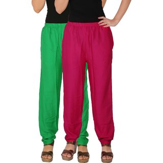 Culture the Dignity Women's Rayon Solid Casual Pants Office Trousers With Side Pockets Combo of 2 -  Green -  Magenta -  C_RPT_GM1 -  Pack of 2 -  Free Size