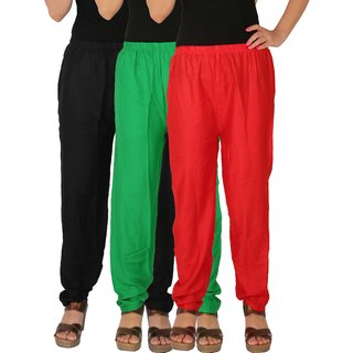 Culture the Dignity Women's Rayon Solid Casual Pants Office Trousers With Side Pockets Combo of 3 - Black - Green - Red - C_RPT_BGR - Pack of 3 - Free Size