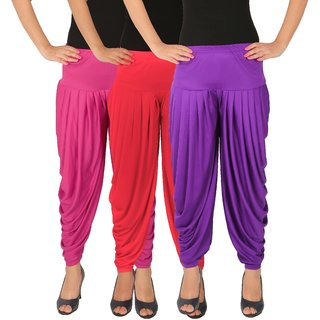 Dhoti Pants Women - Culture the Dignity Women's Lycra Side Plated Dhoti Patiala Salwar Harem Pants Combo - C_SP_DH_M1PV - Magenta - Pink - Violet - Pack of 3