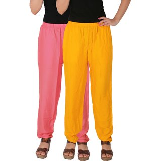 Culture the Dignity Women's Rayon Solid Casual Pants Office Trousers With Side Pockets Combo of 2 -  Baby Pink -  Yellow -  C_RPT_P2Y -  Pack of 2 -  Free Size