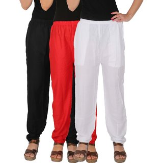 Culture the Dignity Women's Rayon Solid Casual Pants Office Trousers With Side Pockets Combo of 3 - Black - Red - White - C_RPT_BRW - Pack of 3 - Free Size