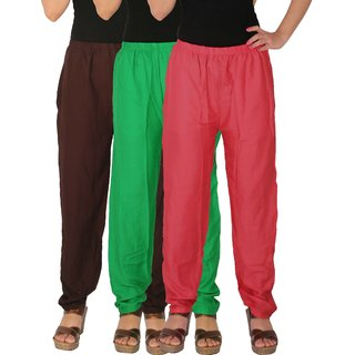 Culture the Dignity Women's Rayon Solid Casual Pants Office Trousers With Side Pockets Combo of 3 - Brown - Green - Pink - C_RPT_B2GP - Pack of 3 - Free Size