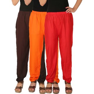 Culture the Dignity Women's Rayon Solid Casual Pants Office Trousers With Side Pockets Combo of 3 - Brown - Orange - Red - C_RPT_B2OR - Pack of 3 - Free Size