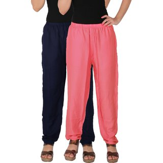 Culture the Dignity Women's Rayon Solid Casual Pants Office Trousers With Side Pockets Combo of 2 -  Navy Blue -  Baby Pink -  C_RPT_B3P2 -  Pack of 2 -  Free Size