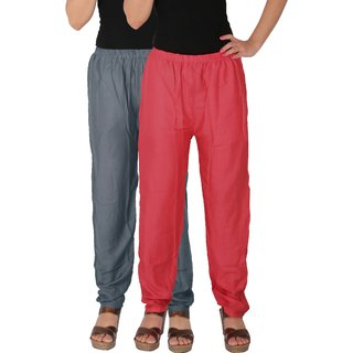 Culture the Dignity Women's Rayon Solid Casual Pants Office Trousers With Side Pockets Combo of 2 -  Grey -  Pink -  C_RPT_G1P -  Pack of 2 -  Free Size