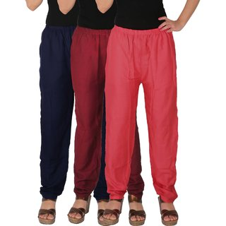 Culture the Dignity Women's Rayon Solid Casual Pants Office Trousers With Side Pockets Combo of 3 - Navy Blue - Maroon - Pink - C_RPT_B3MP - Pack of 3 - Free Size