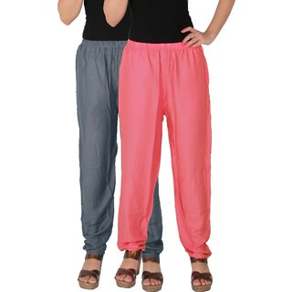 Culture the Dignity Women's Rayon Solid Casual Pants Office Trousers With Side Pockets Combo of 2 -  Grey -  Baby Pink -  C_RPT_G1P2 -  Pack of 2 -  Free Size
