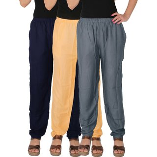 Culture the Dignity Women's Rayon Solid Casual Pants Office Trousers With Side Pockets Combo of 3 - Navy Blue - Cream - Grey - C_RPT_B3CG1 - Pack of 3 - Free Size