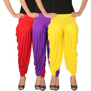 Dhoti Pants Women - Culture the Dignity Women's Lycra Side Plated Dhoti Patiala Salwar Harem Pants Combo - C_SP_DH_RVY - Red - Violet - Yellow - Pack of 3