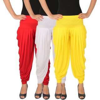 Dhoti Pants Women - Culture the Dignity Women's Lycra Side Plated Dhoti Patiala Salwar Harem Pants Combo - C_SP_DH_RWY - Red - White - Yellow - Pack of 3