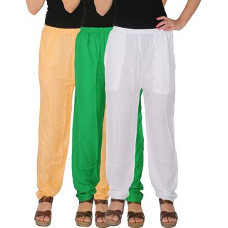 Culture the Dignity Women's Rayon Solid Casual Pants Office Trousers With Side Pockets Combo of 3 - Cream - Green - White - C_RPT_CGW - Pack of 3 - Free Size