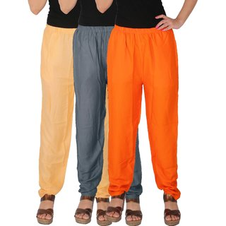 Culture the Dignity Women's Rayon Solid Casual Pants Office Trousers With Side Pockets Combo of 3 - Cream - Grey - Orange - C_RPT_CG1O - Pack of 3 - Free Size